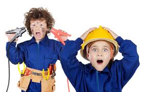 Kids in construction hats